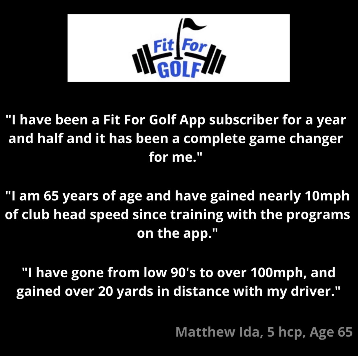 65 Year Old Increases Club Head Speed with Fit For Golf Training Program