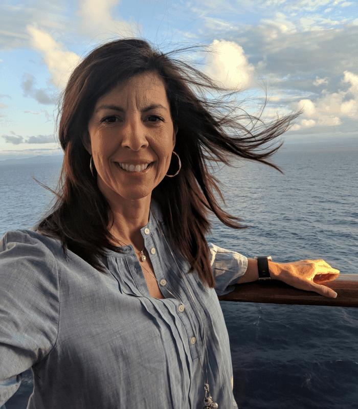 Stephanie on balcony on ship (1)