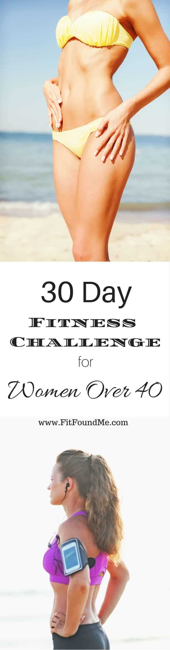 lady on beach in swimsuit after 30 day fitness challenge for women over 40
