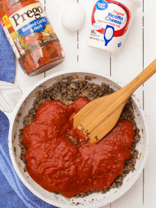 ground turkey or beef mixture with sauce