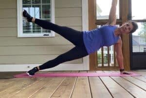 woman doing starfish plank