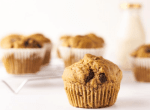 vegan banana bread muffin with chocolate chunks