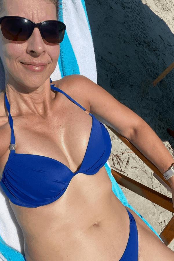 stephanie in bikini on beach