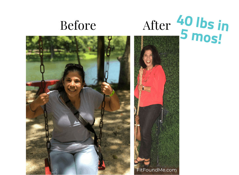 woman in swing and a woman standing on swing before and after losing weight