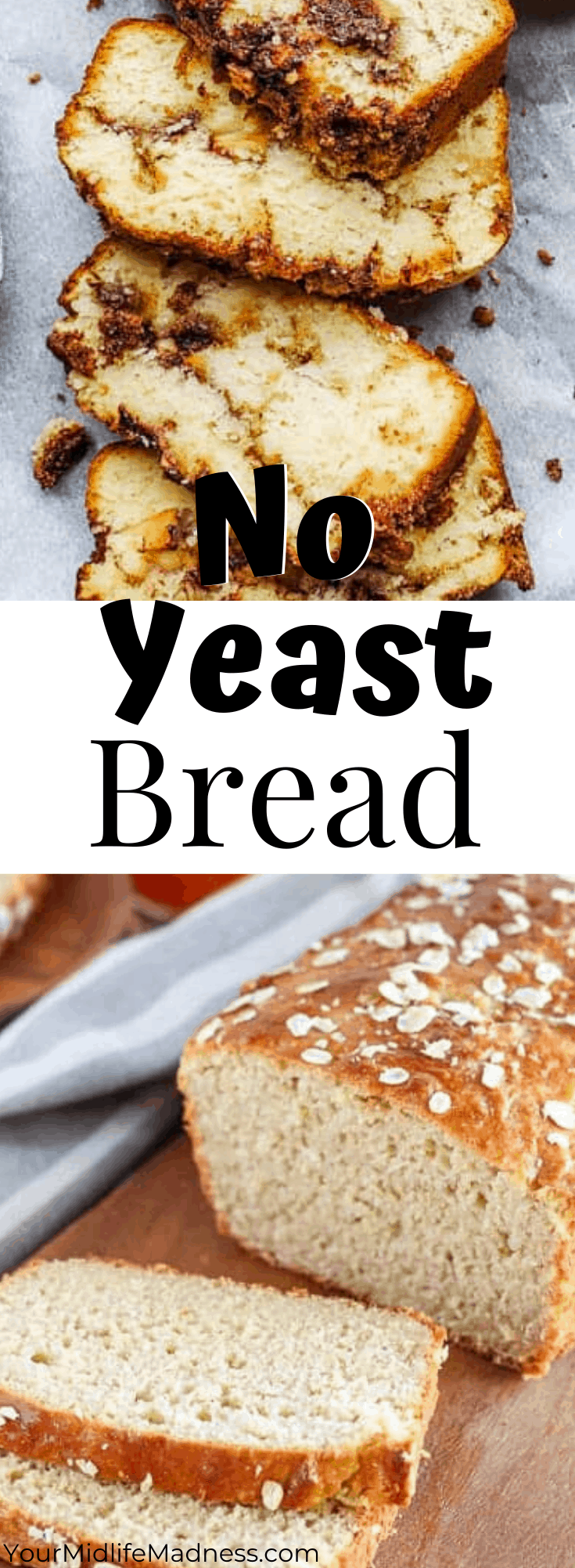 No yeast in the house? You're in the right place. I could live off of freshly baked bread with real butter spread generously on a slice cut just the right thickness. I don't bake bread as often as I did prior to my fitness journey, so actually having a pack of yeast that hasn't expired in my cabinet is a rare occurrence. Another fact about me is I love putting together great recipe lists such as these no yeast bread recipes as my go-to when looking for the perfect bread directions. Enjoy this variety of recipes that will surely fill any bread craving you are having right now!  via @fitfoundme