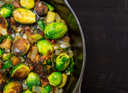 brussel sprout hash in skillet