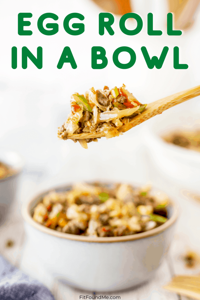 egg roll in a bowl and a bite on a spoon