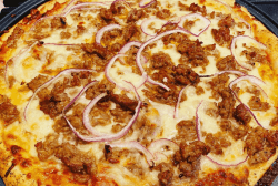 homemade turkey sausage and red onion pizza