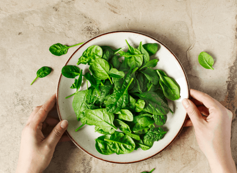 bowl of fresh spinach with a lady's hands holding the bowl