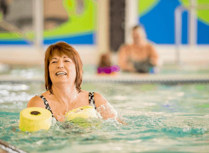lady enjoying easy pool exercises