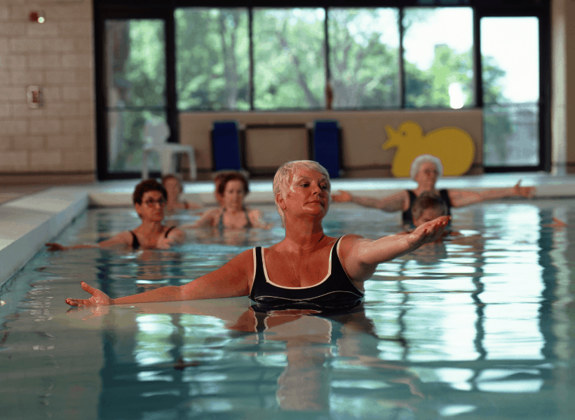 lady doing arm pool exercise