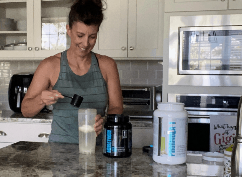 stephanie mixing post workout shake