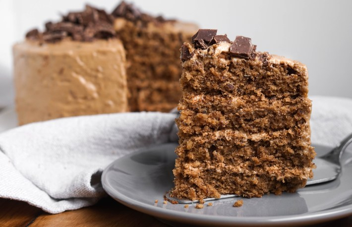 Moist and fluffy vegan hazelnut coffee torte topped with espresso chocolate, the best vegan cake ever!