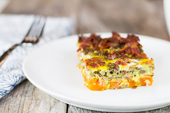 Three Meat and Sweet Potato Breakfast Casserole - a delicious paleo breakfast casserole