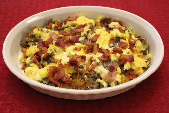 "Paleo Low-carb Breakfast Skillet with Spaghetti Squash ""hash browns,"" sausage, bacon and eggs - a tasty, low-carb breakfast!"