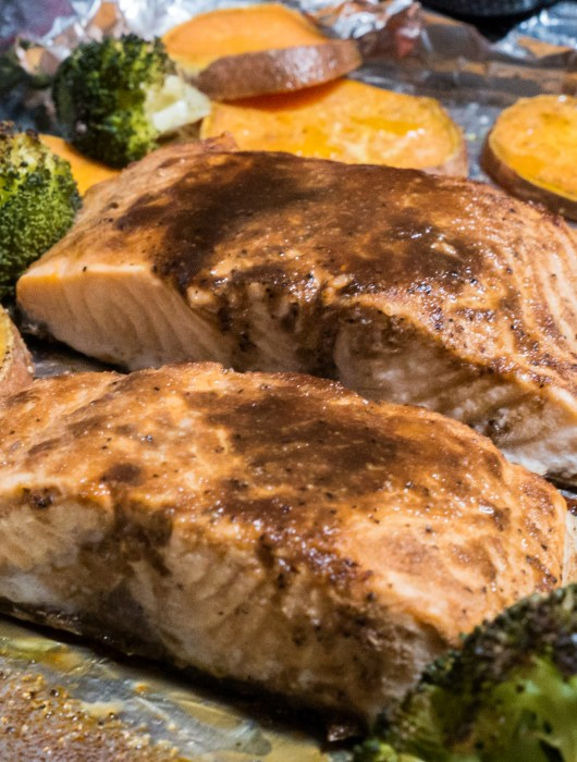 This One-pan Honey Glazed Salmon and Veggies is the perfect paleo meal for busy weeknights!