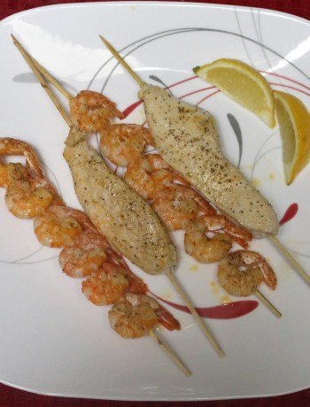 Lemon Paprika Chicken and Shrimp Skewers