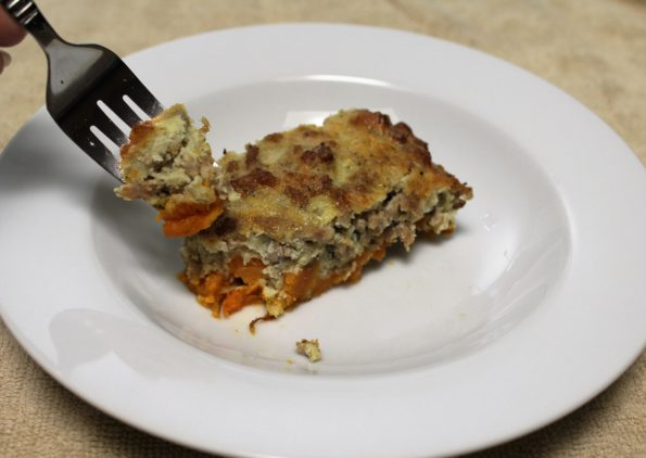 Sausage and Sweet Potato Casserole, gluten free and paleo and delicious!