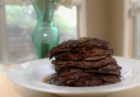 Chocolate Sweet Potato and Oatmeal Pancakes