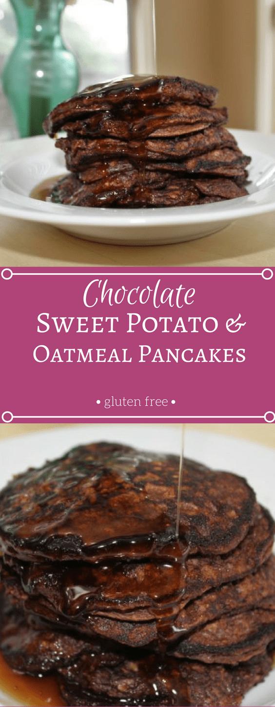 Chocolate Sweet Potato and Oatmeal Pancakes - gluten free, sweet and tasty!