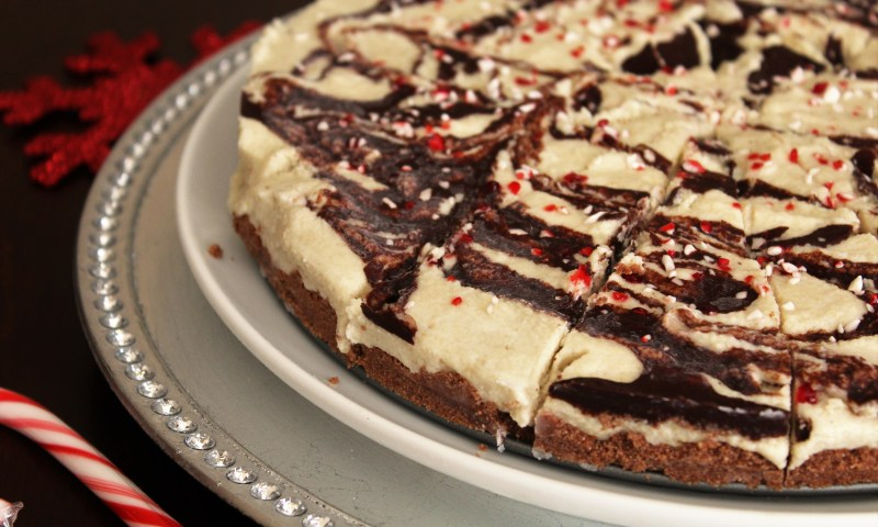 """White Chocolate Peppermint """"Cheesecake"""" - This paleo dessert has a rich, sweet, creamy texture with a hint of peppermint.  A delicious dairy-free, gluten-free option for the holidays!"""