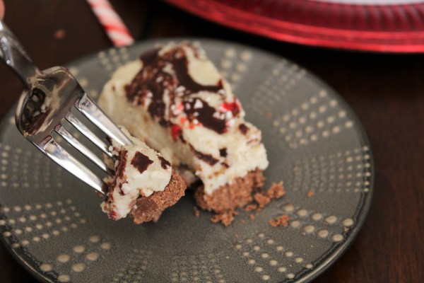 "Paleo White Chocolate Peppermint ""Cheesecake"" - This paleo dessert has a rich, sweet, creamy texture with a hint of peppermint. A delicious dairy-free, gluten-free option for the holidays!"