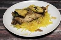 Creamy Artichoke Mushroom Chicken with Spaghetti Squash