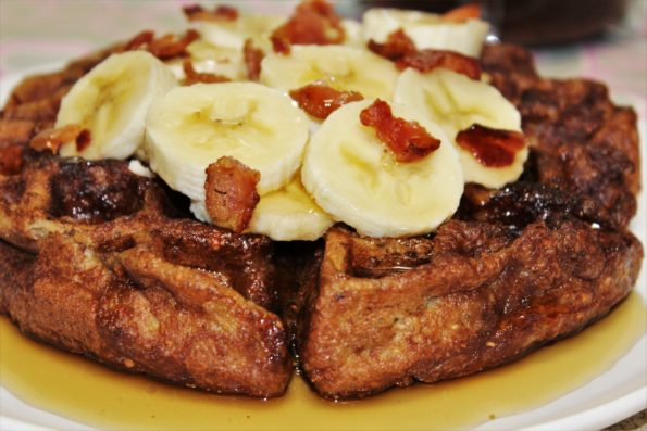 Paleo Elvis Waffles made with Almond butter, banana and bacon!