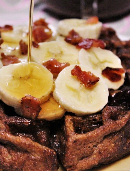 These Paleo Elvis Waffles made with almond butter, banana and bacon are a delicious, gluten-free way to start your day!