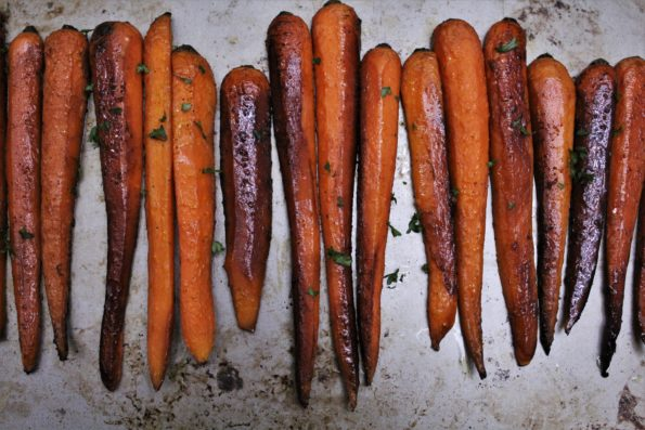 Sweet Balsamic Roasted Carrots - a delicious tasting paleo side dish with a hint of maple
