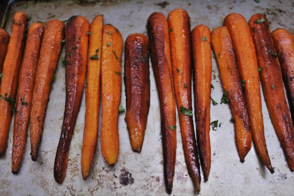 Sweet Balsamic Roasted Carrots - a sweet and savory paleo side-dish