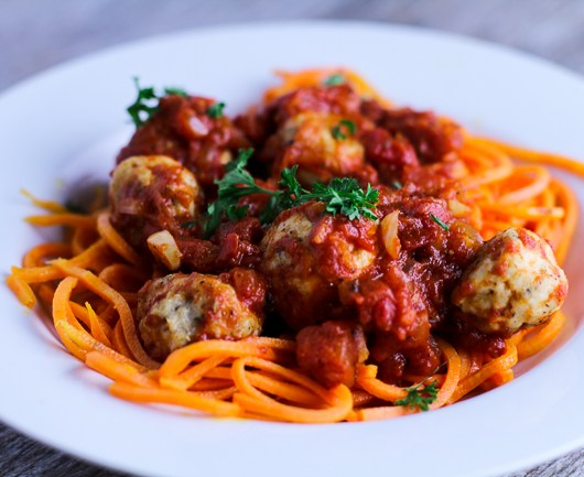 Sweet Potato Noodles with Chicken Meatballs