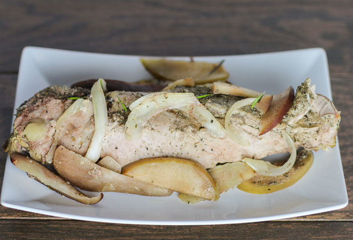 Slow Cooker Pork Tenderloin with Apples and Pears - a simple, tasty meal with only a few ingredients