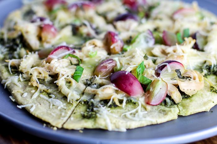 Gluten-free, Grain-free Chicken Pesto Pizza with Red Grapes