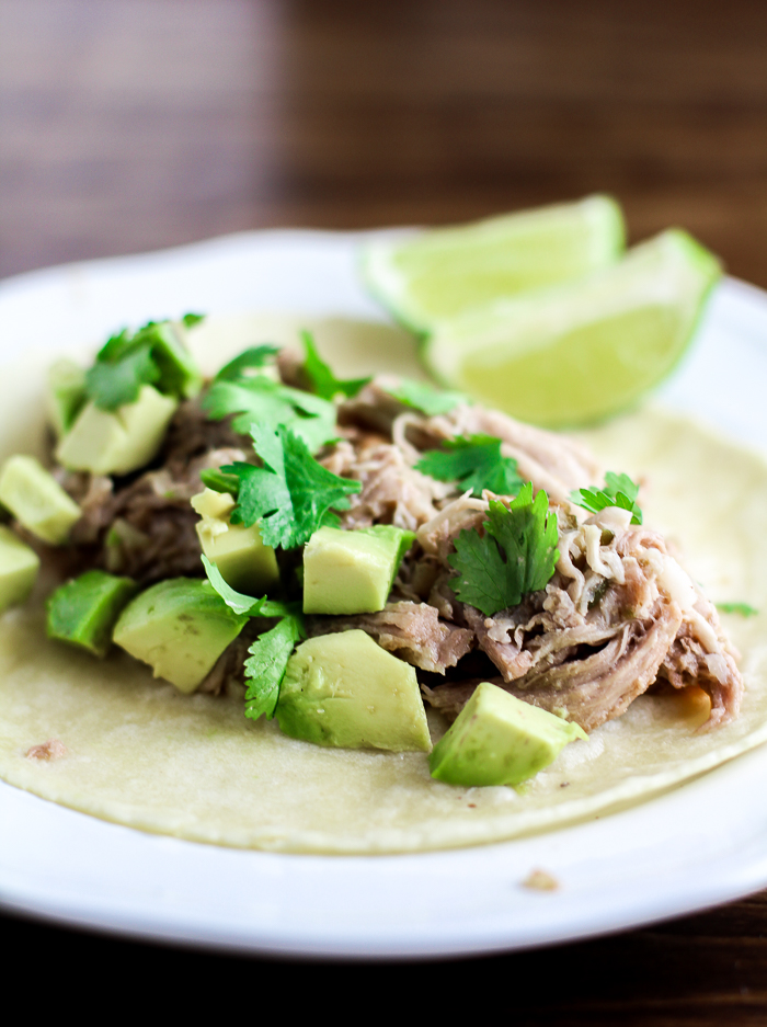 Slow Cooker Green Chile Pork Carnitas with Siete Foods Tortilla