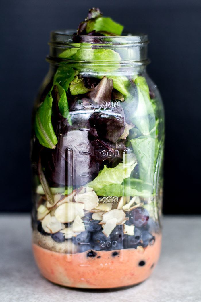 Antioxidant Chicken Salad with Sweet Strawberry Dressing in a Jar
