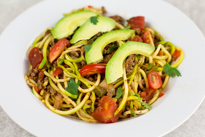 Zoodles Taco Spaghetti - a light and healthy paleo meal!