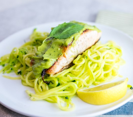 Lemon Basil Avocado Salmon with Zoodles
