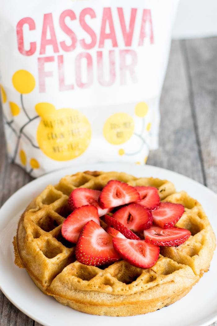 Strawberry Cassava Flour Waffles