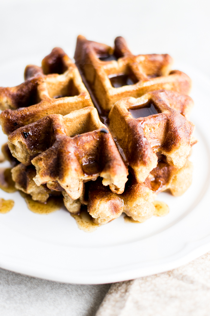 Paleo Banana Bread Waffles with Maple Cinnamon Butter