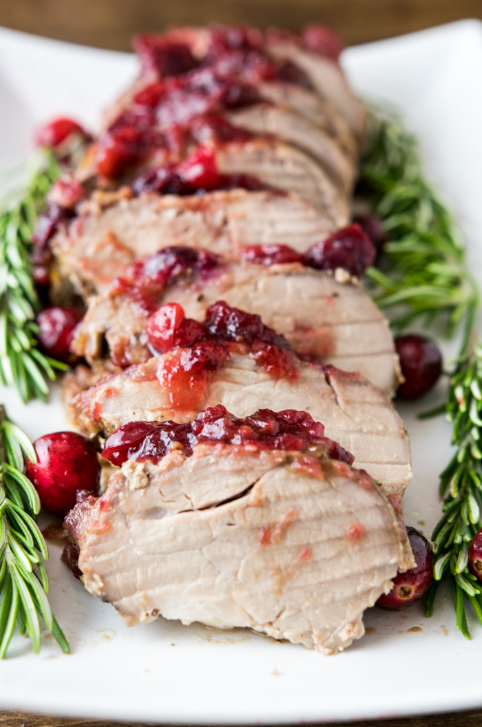 cranberry rosemary pork tenderloin sliced