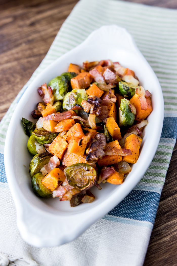 maple bacon brussels and sweet potatoes