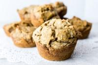 closeup of banana chia muffins