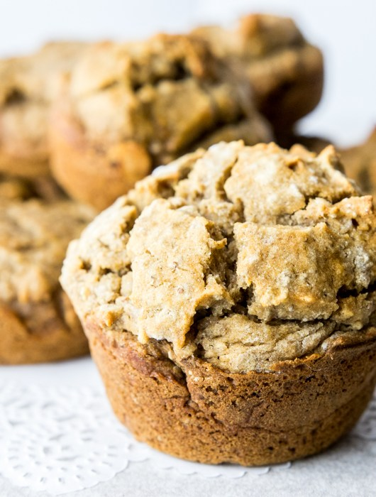 closeup of banana chia muffins
