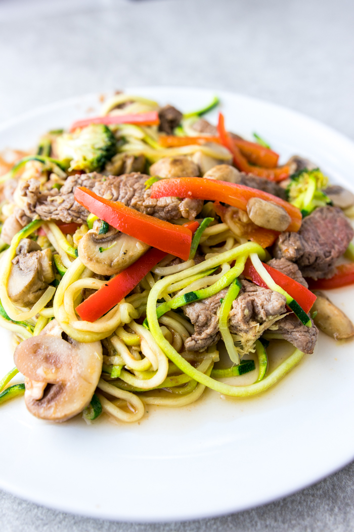 Paleo Beef Stir Fry with Zoodles on plate