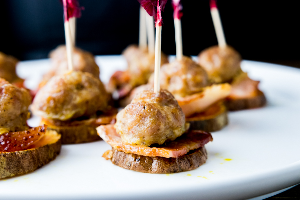 paleo bacon meatball stackers