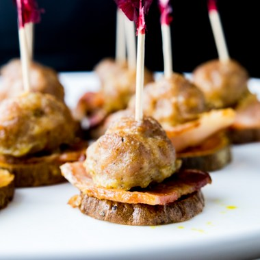 paleo bacon meatball stackers