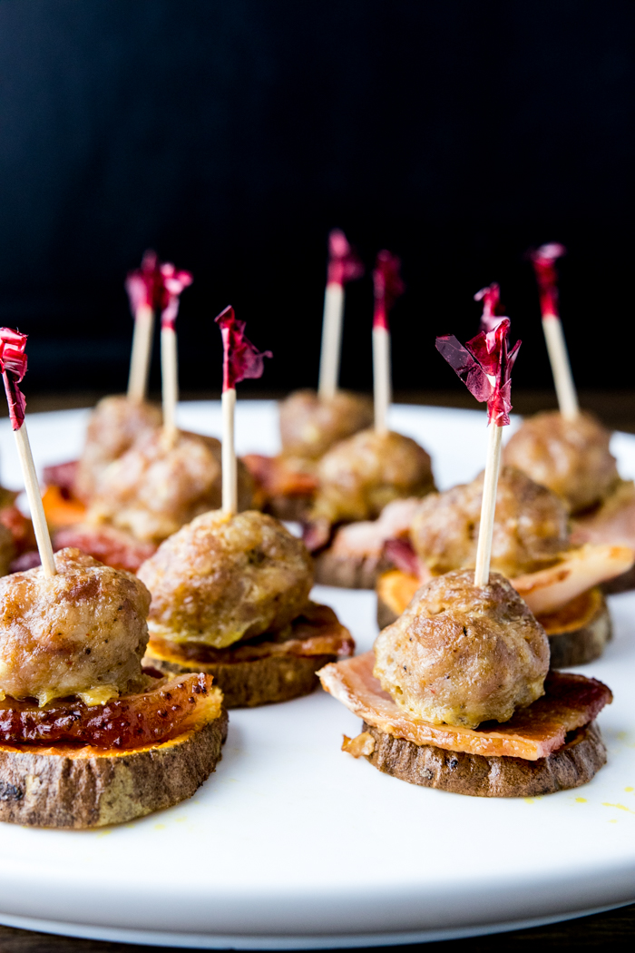 close-up of paleo bacon meatball sliders