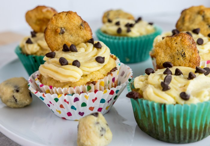 paleo cookie dough cupcakes from side