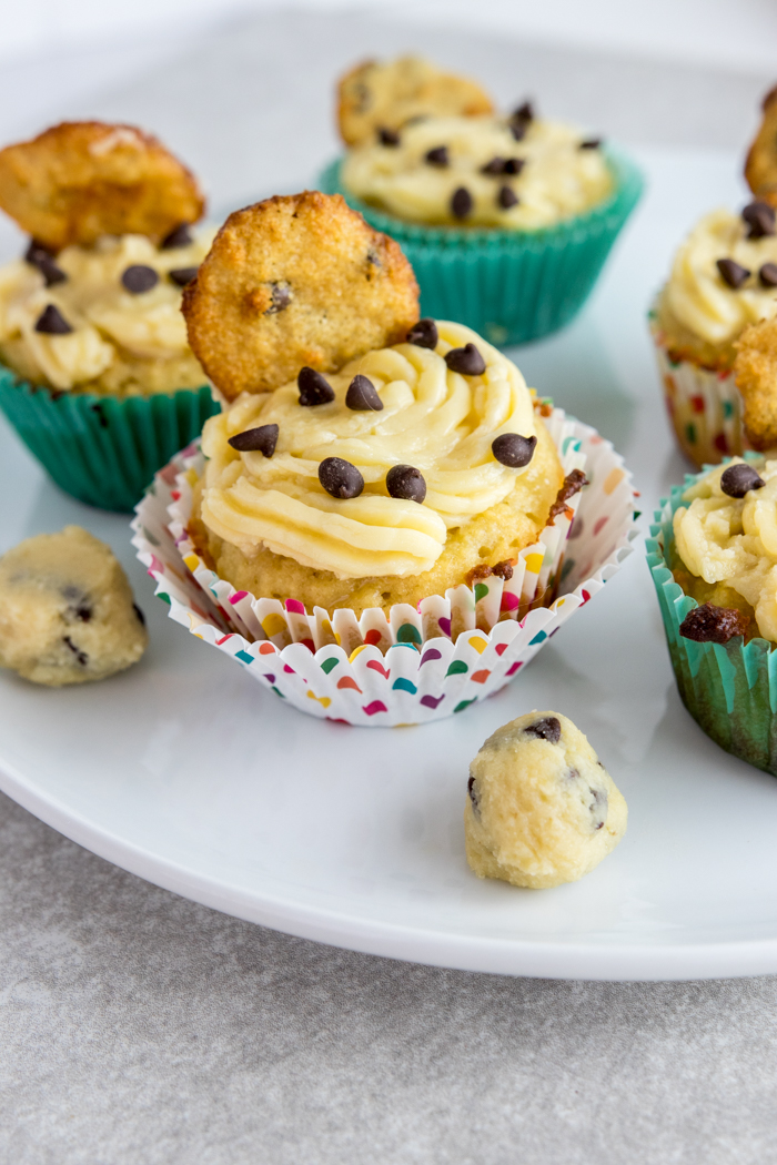 paleo cookie dough cupcakes on plate